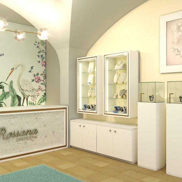 Allestimento banco cassa e vetrine di una gioielleria