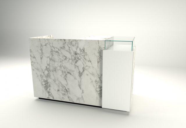 banco cassa linea zero marmo bianco