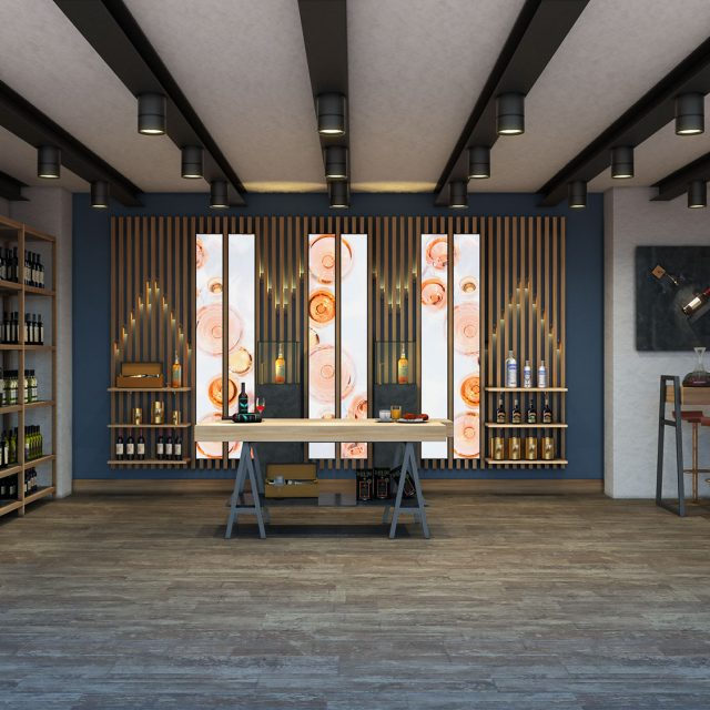 Progetto arredi in stile Ecofusion per wine shop