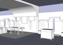Sketch negozio abbigliamento per consulenza interior design