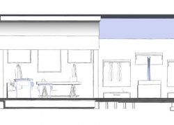 Sketch di un progetto di interior design per un negozio