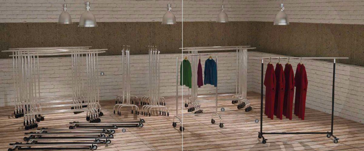 Stender regolabili per negozi abbigliamento