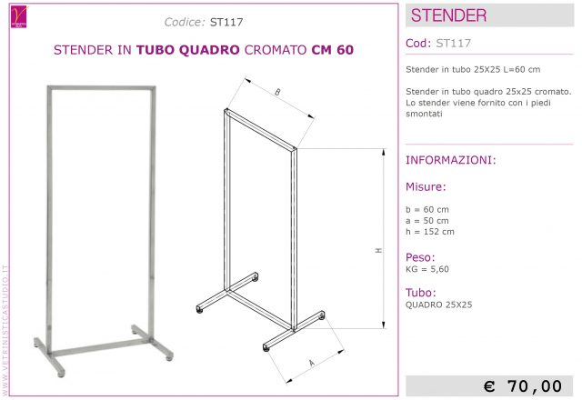 Stender in tubo quadro design