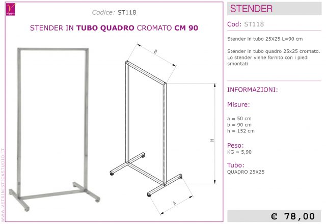 stender tubo quadro design 90cm