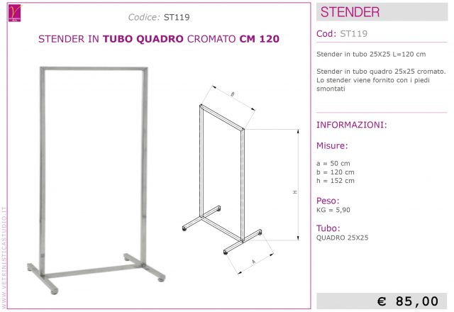 stender tubo quadro design 120cm