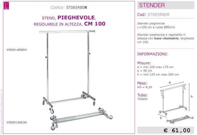 Stender pieghevole cm 100 regolabile in altezza