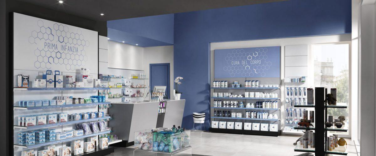 Arredamento farmacia colore blu