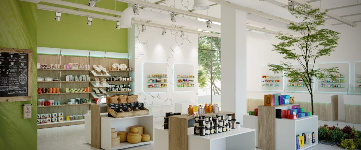 Arredamento per negozio di cosmetica ed erboristeria