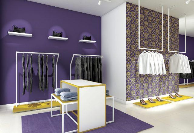 Arredo minimale linea Raimbow per shop di abbigliamento