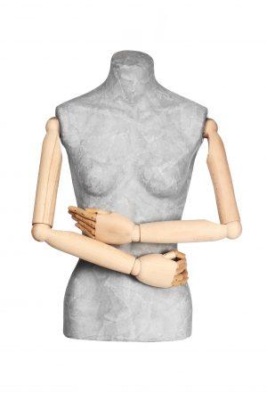 busto donna cartapesta braccia in legno
