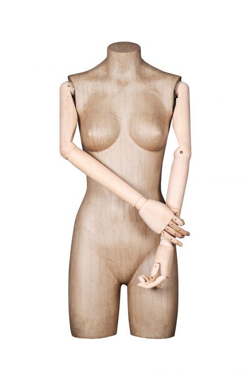 busto donna cartapesta con braccia in legno