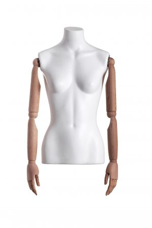 busto donna braccia in legno