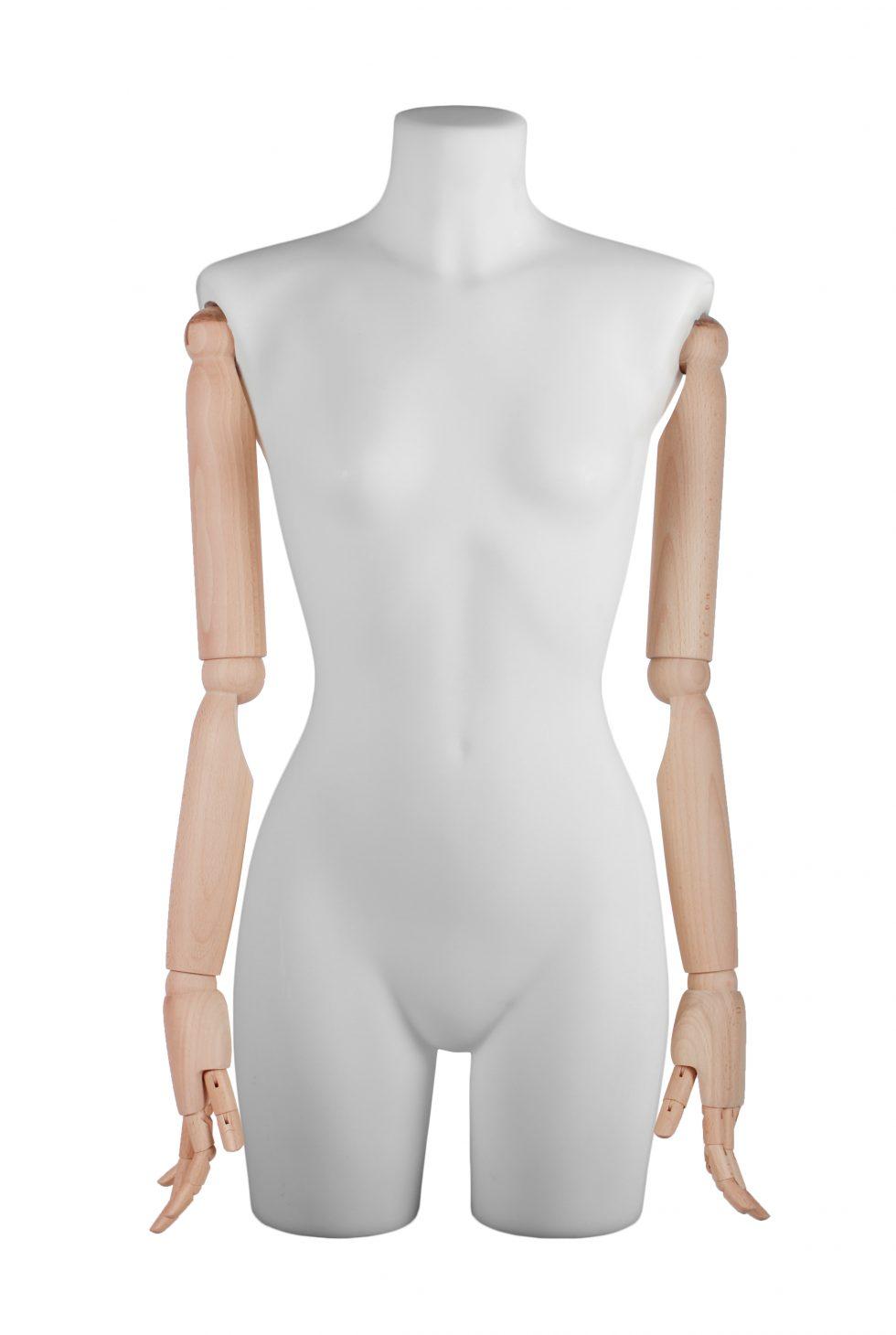 busto donna polietilene con braccia in legno