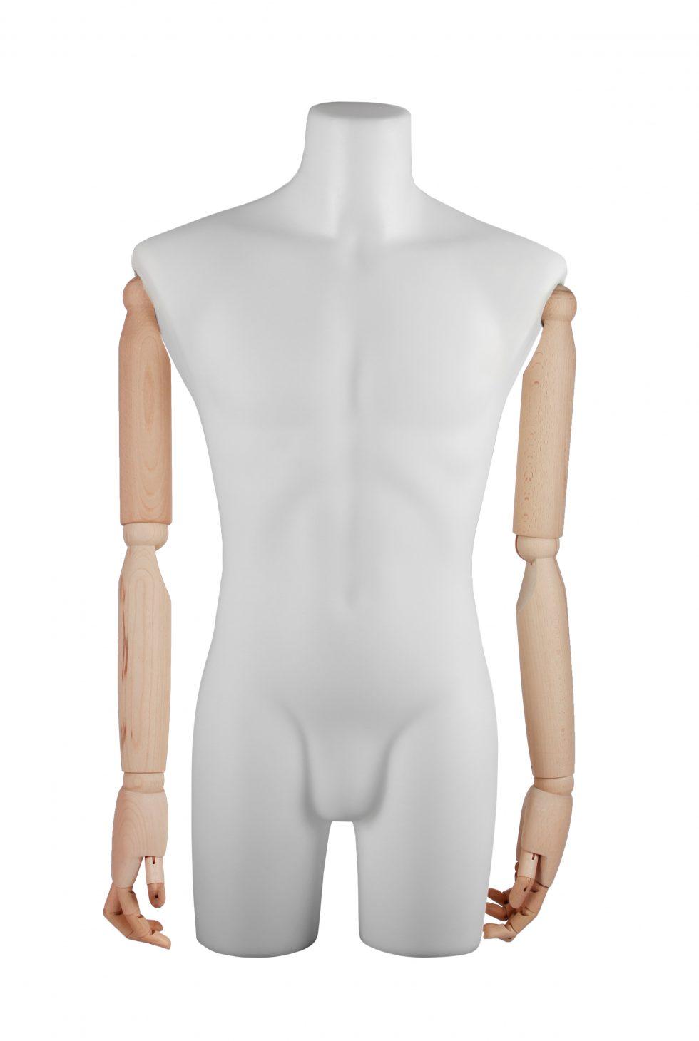 busto uomo polietilene braccia in legno