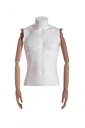 busto uomo polietilene con braccia in legno