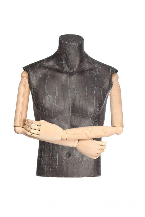 busto uomo cartapesta braccia in legno