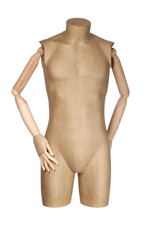 busto uomo cartapesta con braccia in legno