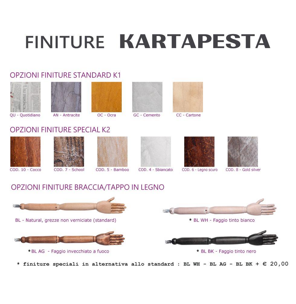 finiture manichini in cartapesta con braccia in legno