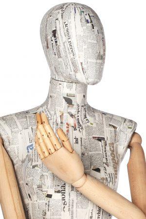 manichino cartapesta braccia in legno