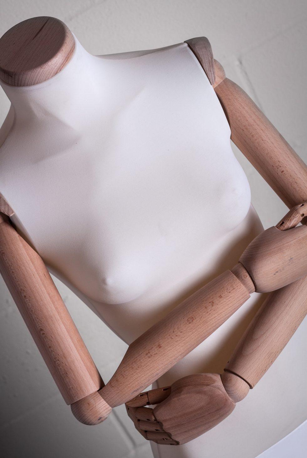manichino donna rivestito in lycra con braccia legno ritaglio