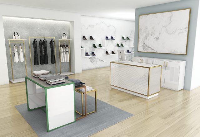 Progettaziona arredamento completo per shop moda in stile moderno