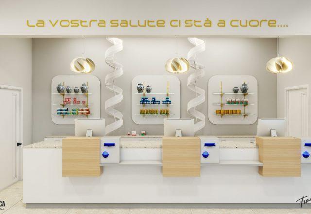 Progettazione arredo moderno per farmacia