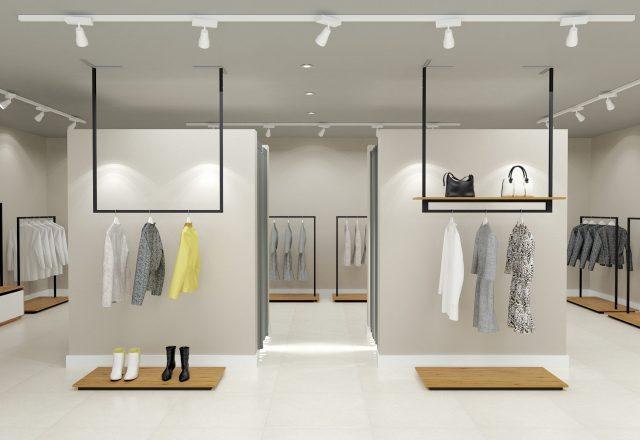 Progetto 3d di arredo minimale con mobili serie Raimbow