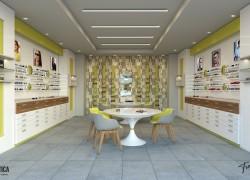 Realizzazione negozio ottica moderno colore giallo