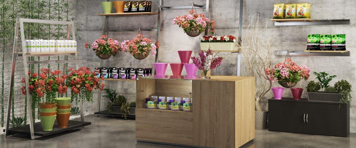 Scaffalature e banco cassa in legno per negozio fiori e piante