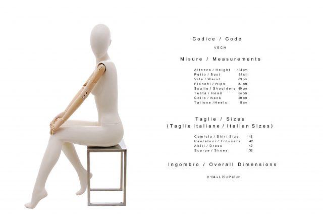 manichino verve astratto con braccia in legno seduto