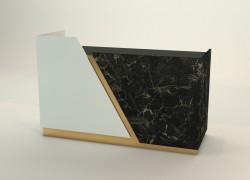 banco cassa oro satinato bianco e marmo nero