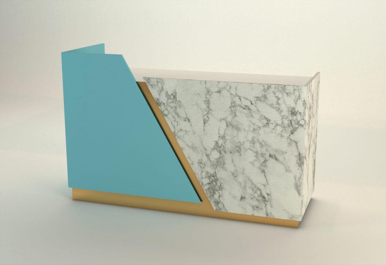 banco cassa laccato azzurro marmo e oro